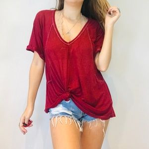 Free People dark red oversized thin burnout tee